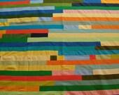 "New. Modern. Bright. Stripe. Solids. Kona Cotton Quilt Top. 87""x96""."