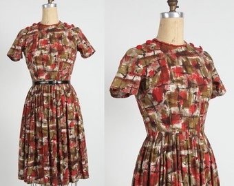 ON SALE Red Brown Dress . Abstract Print Mid Century Frock