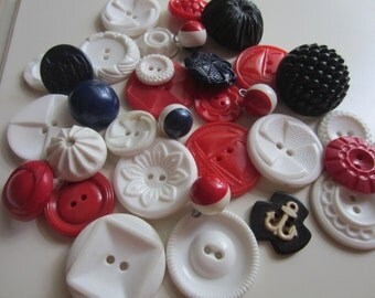 Vintage Buttons - Cottage chic mix of red, white and blue lot of 33, Nautical mix, old and sweet (feb 32)