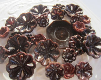 Vintage Buttons - Cottage chic mix of brown lot of 25, old and sweet(mar 203)
