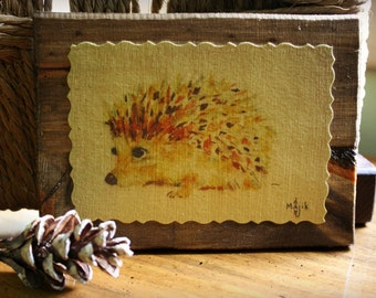 Hedgehog Nature Art Print Watercolor Animal Art Wildlife Home Cabin Office Decor Illustration Gift Wood Plaque Majik Horse