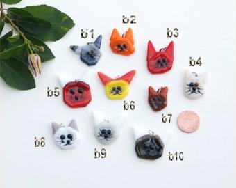 Fused glass cat pendant, kitten, kitty
