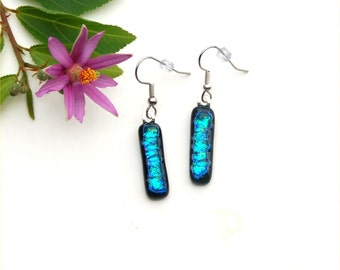 134 Fused dichroic glass hanging earrings, blue, green, black