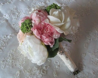 Reserved listing for....Kacie Costello....Cottage Chic Silk Pink Peony Peach Rose Bridal Wedding Bouquet