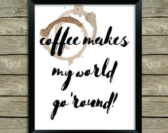 Coffee Lover, Caffeine Addict, Printable Art, Kitchen, Home Office, Coffee Bar, Coffeehouse, Instant Download, Digital Art