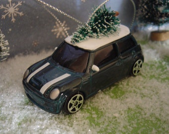 Mini Cooper car with Christmas tree ornament