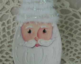 Hand Painted Wood Spoon Santa Ornament Christmas