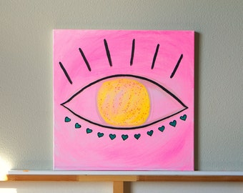 "Third Eye Boho Art, Fluorescent Pink & Yellow Evil Eye, Bright Bohemian Wall Art, Original Acrylic Painting on Canvas, Gift for Wife 20""x20"""