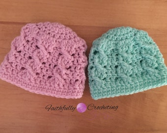Newborn twin hats.. Cable beanies.. Boy girl twin set.. Ready to ship.. Photography prop