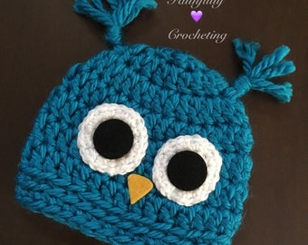 Newborn owl hat... Blue owl beanie.. Photography prop.. Ready to ship