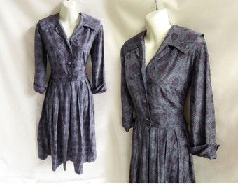 Vintage 40s Dress Size M Purple Blue Silk Shirtwaist Rockabilly 50s