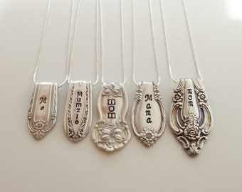 Mother's Spoon End Charms - Silverware Jewelry - Hand Stamped Pendant - Mom Necklace