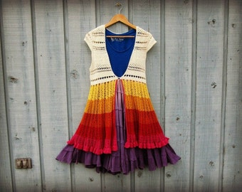 XS-Sm. Rainbow Upcycled Cotton Crochet Summer Dress// emmevielle