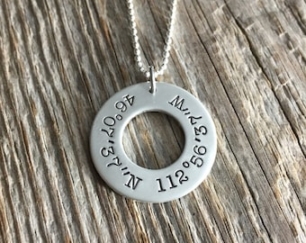 Coordinates Washer Necklace -  Custom Sterling Silver Hand Stamped Pendant