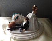 Wedding Cake Topper Bridal  Miami Dolphins  NFL Funny Football  team  Football Themed with matching garter