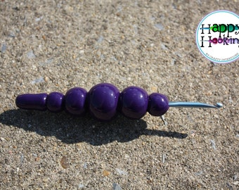 Ergonomic Tapered 3.75 mm F-5 Crochet Hook with a Purple Hand-Sculpted Handle