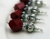 Vintge Style Ruby Red Twisted Helix Crystal with Ornate Silver Bead Dangle Charm Drop Set - Earring Dangle, Charm, Drop, Pendant