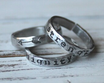FREE SHIPPING. Set of 3.  Handstamped Stacking Ring. Silver Aluminum. Personalized.