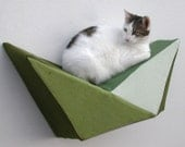 Cat shelf wall bed in olive, avocado, sage & ecru