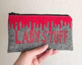 LADY STUFF - Tampon Case - Dripping Blood Applique Pouch - Zippered Pouch