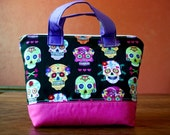 Large Padded Essential Oil Pouch- Sugar Skull Print- Fits 16-22 Bottles