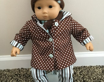 CHOCOLATE FUN 5-Piece Bitty Baby or Similar Baby Doll Outfit