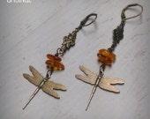 Outlander Earrings - Dragonfly in Amber Earrings -  Amber Earrings - Diana Gabaldon Inspired - Outlander Jewelry - Outlander Theme Earrings