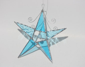 Blue ripple aqua stained glass star window catcher christmas ornament