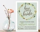 Bridal Shower Invitation, Here comes the bride Shower Invite,  Vintage flowers Shower Invitation, Printable shower invitation