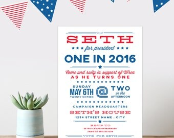 presidential campaign birthday party invitation, childrens birthday party invitation, red, white and blue birthday invitation, kids birthday