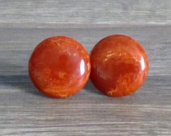 Orangy Brown Bakelite Earrings