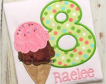 Ice Cream Party -  Double Scoop Ice Cream Shirt - Boys Ice Cream Birthday Party  - Girls Ice Cream Party Shirt -  Birthday Shirt