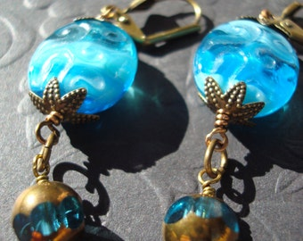 Bahama blue glass dangle earrings, milky embossed glass beads with vintage brass, luminous jewelry, gold capped beads, art glass beads