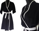 70s 80s Black & White Faux Wrap Dress M