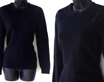 80s Black Cashmere Sweater with Crushed Velvet Accents M