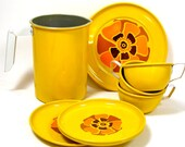Groovy 1970s Toy Tea Set, 10 piece set. Harvest gold with orange flowers, Suny trio, tea for 3.