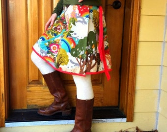 Women's Wrap Skirt  -Mod Forest- Adjustable Size - Ready to Ship