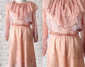 1970s floral and sheer stripe dress, size M-L