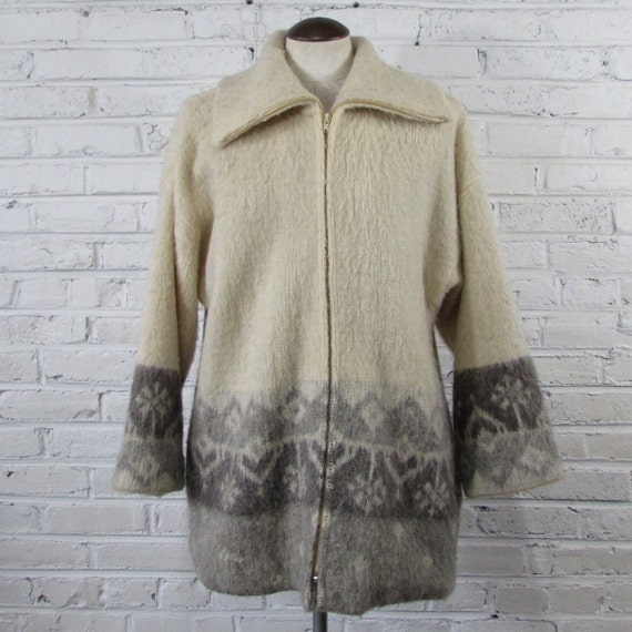Fuzzy Wool Nordic Zip Front Fair Isle Cardigan Sweater --womens roomy L