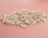 Large Applique RHINESTONE and BEADED with PEARL in Silver-7 1/4 x 3 inches