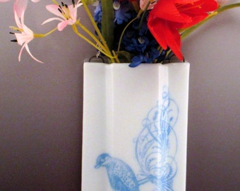 Fused Glass Screen Print Vintage Style Blue Bird Wall Pocket Vase