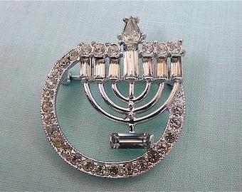 Vintage Judaic Crystal Pin