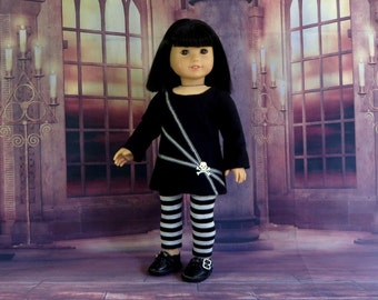 Goth Girl Doll Clothes, Skull and Crossbones Tunic Top and Leggings, Handmade to fit American Girl Doll