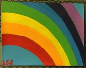 Hand painted rainbow blank notecard