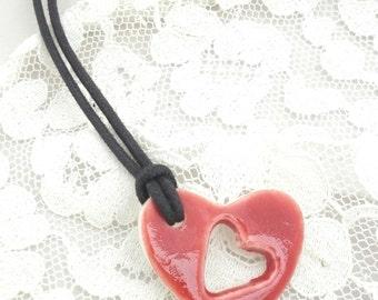 Handmade Porcelain Heart Pendant Necklace
