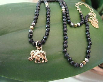 Black Spinel Stone and Elephant Charm Necklace