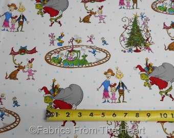 How the Grinch Stole Christmas on White BY YARDS Robert Kaufman Cotton Fabric