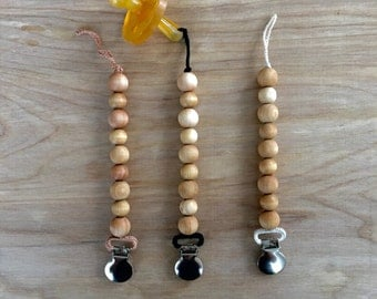 Neutral Wood Bead Universal Pacifier Clip