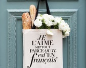 """SALE! French Tote Bag, """"L'aime"""" Funny Canvas Tote Bag, Fashion Gift for Her, Minimalist Typography, Modern Shopping Bag with Pockets"""