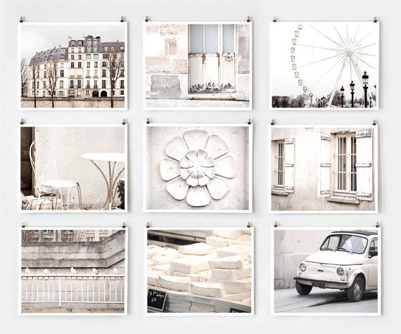Fine Art Photography, Paris Gallery Wall Art Prints, White Paris Photography  Extra Large Wall Art, Paris Decor